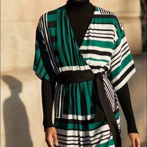 Mango wrap green midi dress